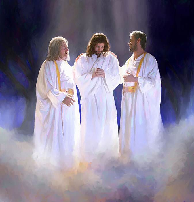 He was so bright that the disciples could hardly look at Him.
