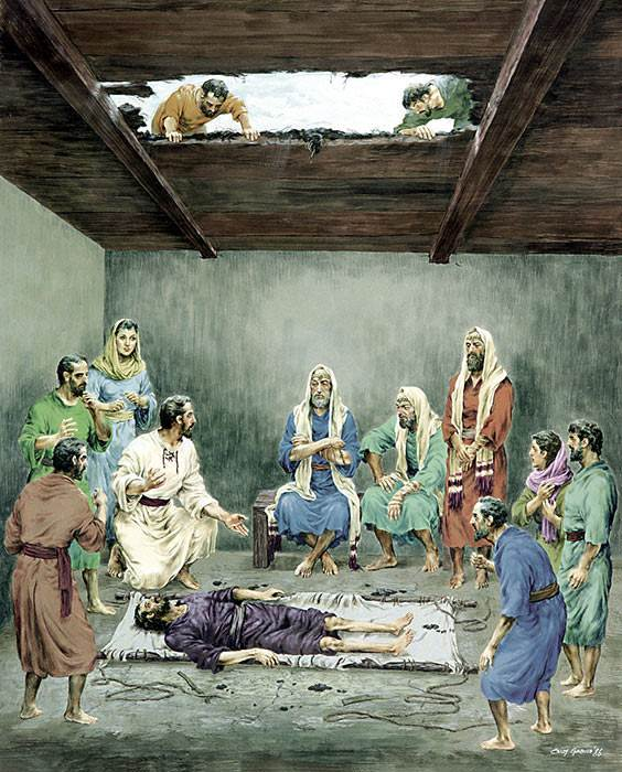 They climbed up on the house, made a hole in the roof, and lowered the sick man down where Jesus was. (Copyright © New Tribes Mission; used by permission)
