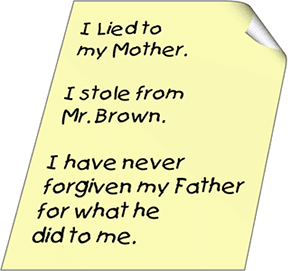 I lied to my mother. I stole from Mr. Brown.  I have never forgiven my father for what he did to me.
